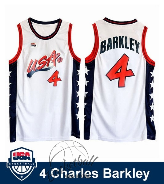 Choisir Maillot NBA 1996 USA Charles Barkley NO.4 Blanc