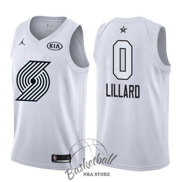 Choisir Maillot NBA 2018 All Star NO.0 Damian Lillard Blanc