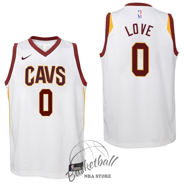 Choisir Maillot NBA Enfant Cleveland Cavaliers NO.0 Kevin Love Blanc Association 2017-18