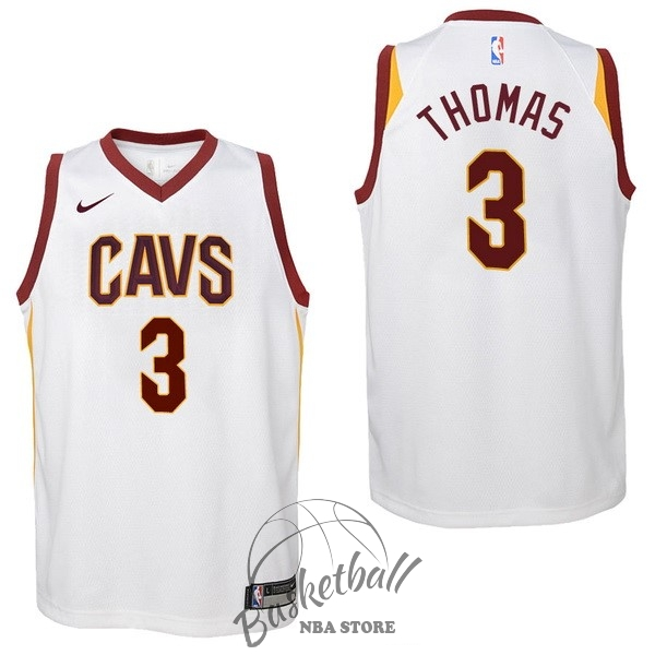Choisir Maillot NBA Enfant Cleveland Cavaliers NO.3 Isaiah Thomas Blanc Association 2017-18