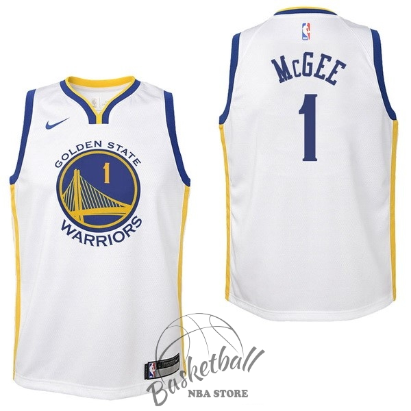 Choisir Maillot NBA Enfant Golden State Warriors NO.1 JaVale McGee Blanc Association 2017-18