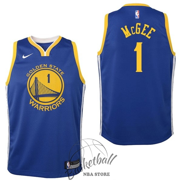 Choisir Maillot NBA Enfant Golden State Warriors NO.1 JaVale McGee Bleu Icon 2017-18
