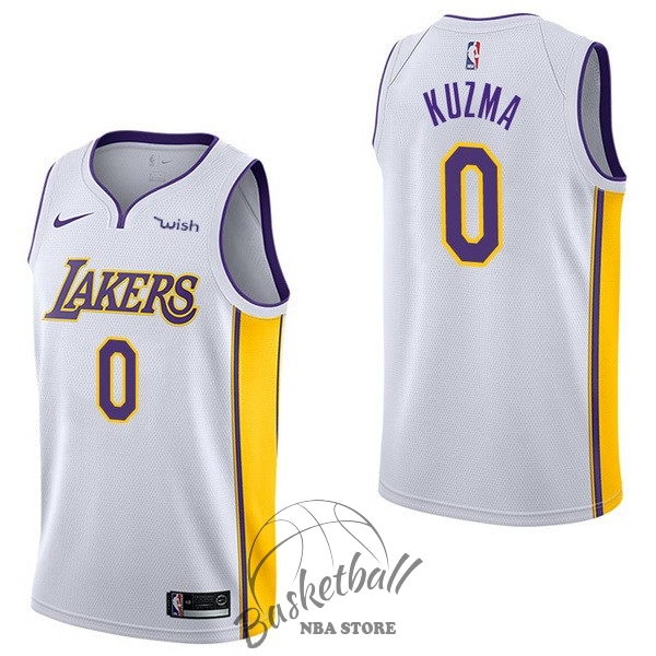 Choisir Maillot NBA Enfant Los Angeles Lakers NO.0 Kyle Kuzma Blanc 2017-18