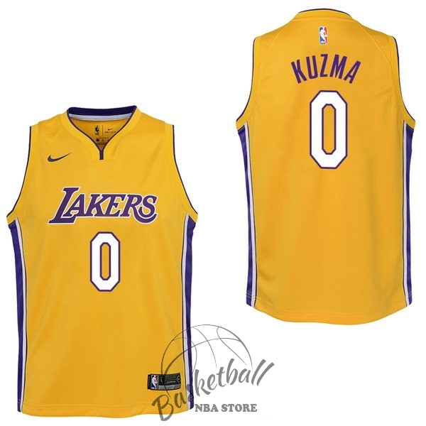 Choisir Maillot NBA Enfant Los Angeles Lakers NO.0 Kyle Kuzma Jaune Icon 2017-18