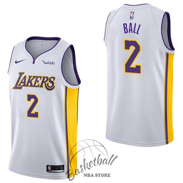 Choisir Maillot NBA Enfant Los Angeles Lakers NO.2 Lonzo Ball Blanc 2017-18