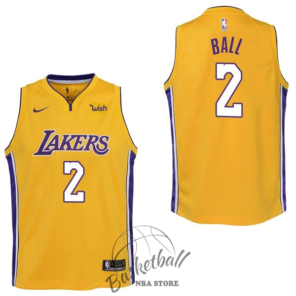 Choisir Maillot NBA Enfant Los Angeles Lakers NO.2 Lonzo Ball Jaune 2017-18