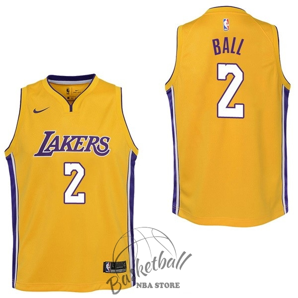 Choisir Maillot NBA Enfant Los Angeles Lakers NO.2 Lonzo Ball Jaune Icon 2017-18
