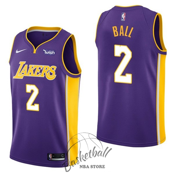 Choisir Maillot NBA Enfant Los Angeles Lakers NO.2 Lonzo Ball Pourpre 2017-18