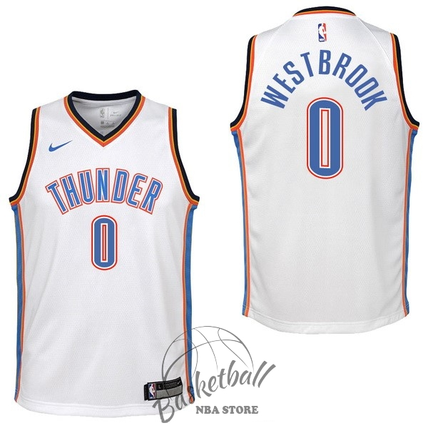 Choisir Maillot NBA Enfant Oklahoma City Thunder NO.0 Russell Westbrook Blanc Association 2017-18