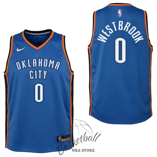 Choisir Maillot NBA Enfant Oklahoma City Thunder NO.0 Russell Westbrook Bleu Icon 2017-18
