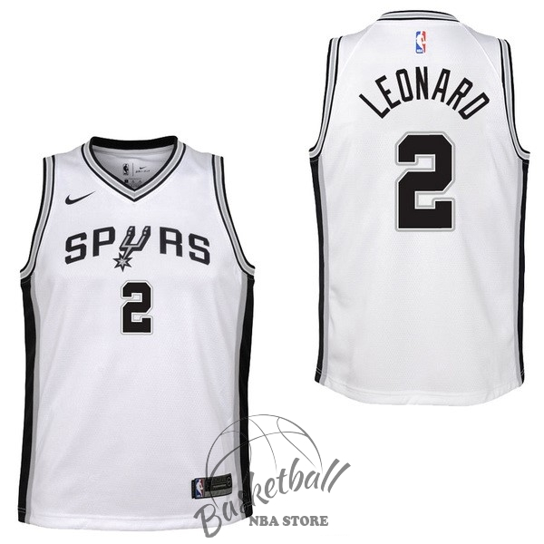 Choisir Maillot NBA Enfant San Antonio Spurs NO.2 Kawhi Leonard Blanc Association 2017-18