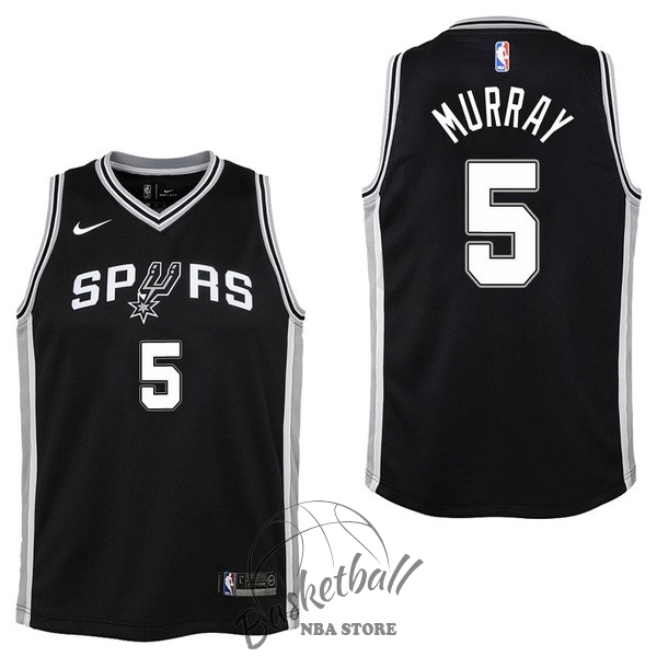 Choisir Maillot NBA Enfant San Antonio Spurs NO.5 Dejounte Murray Noir Icon 2017-18