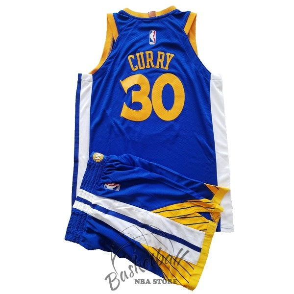 Choisir Maillot NBA Ensemble Complet Enfant Golden State Warriors NO.30 Stephen Curry Bleu 2017-18