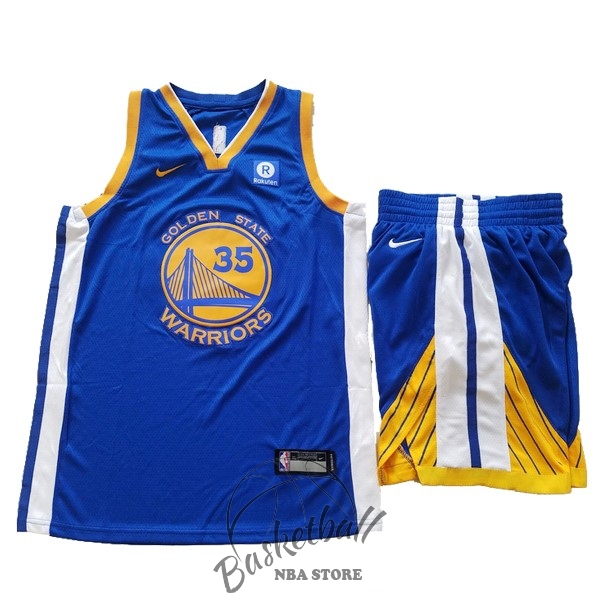 Choisir Maillot NBA Ensemble Complet Enfant Golden State Warriors NO.35 Kevin Durant Bleu 2017-18