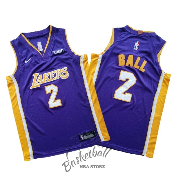 Choisir Maillot NBA Ensemble Complet Enfant Los Angeles Lakers NO.2 Lonzo Ball Pourpre 2017-18