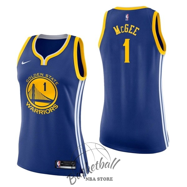 Choisir Maillot NBA Femme Golden State Warriors NO.1 JaVale McGee Bleu Icon