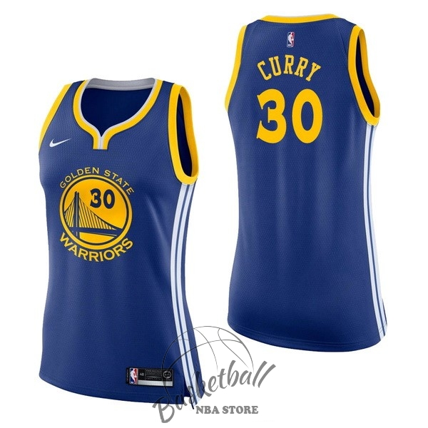 Choisir Maillot NBA Femme Golden State Warriors NO.30 Stephen Curry Bleu Icon