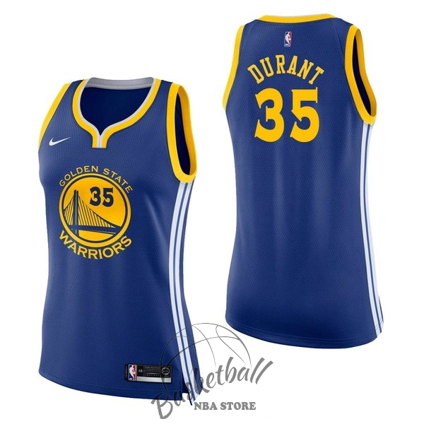 Choisir Maillot NBA Femme Golden State Warriors NO.35 Kevin Durant Bleu Icon