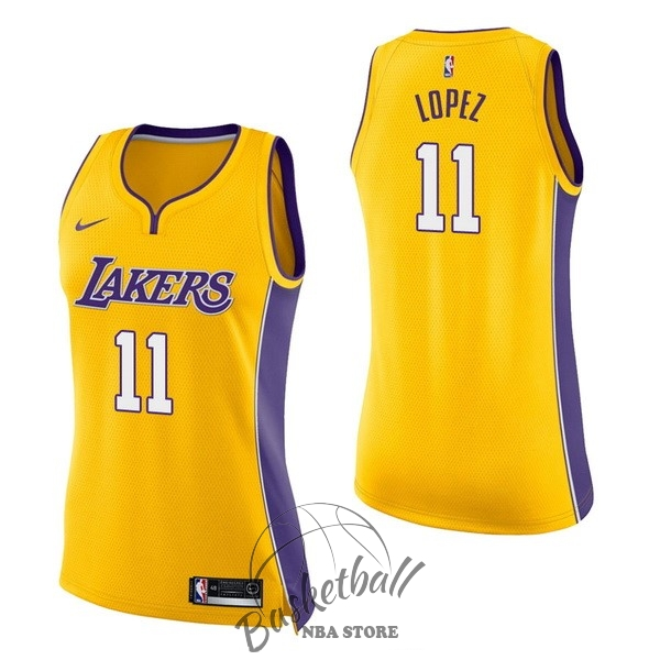 Choisir Maillot NBA Femme Los Angeles Lakers NO.11 Brook Lopez Jaune Icon