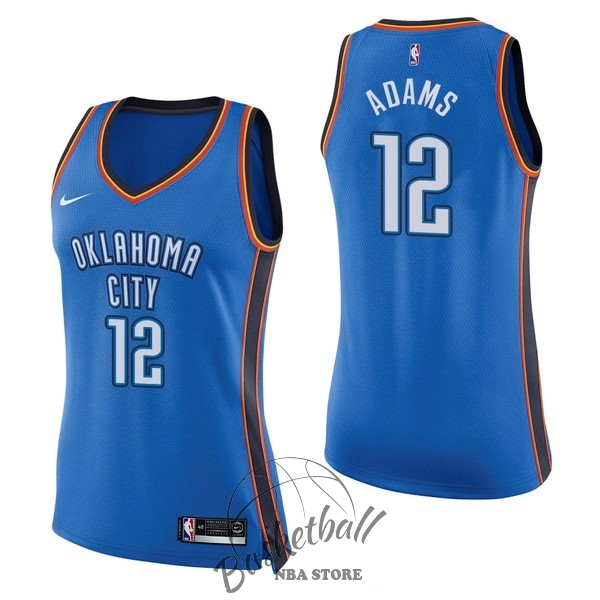Choisir Maillot NBA Femme Oklahoma City Thunder NO.12 Steven Adams Bleu Icon