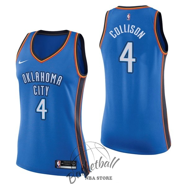 Choisir Maillot NBA Femme Oklahoma City Thunder NO.4 Nick Collison Bleu Icon