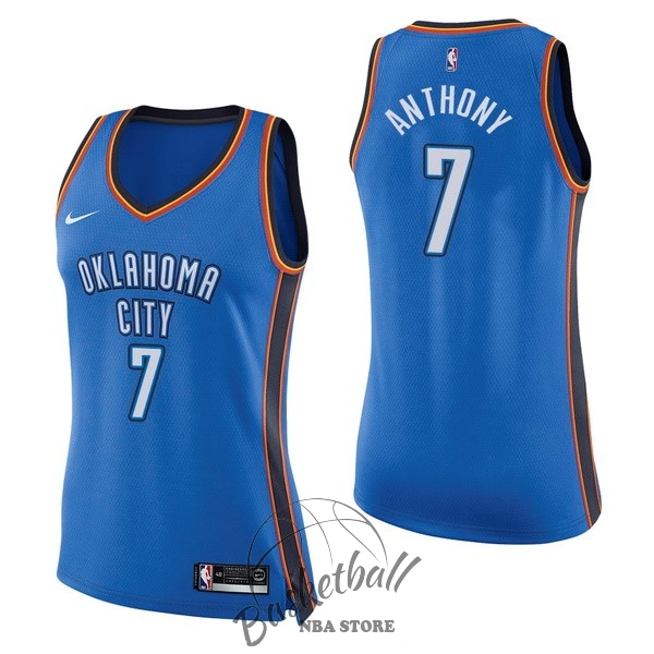 Choisir Maillot NBA Femme Oklahoma City Thunder NO.7 Carmelo Anthony Bleu Icon