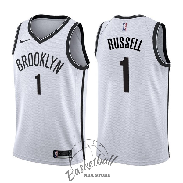 Choisir Maillot NBA Nike Brooklyn Nets NO.1 D'Angelo Russell Blanc Association