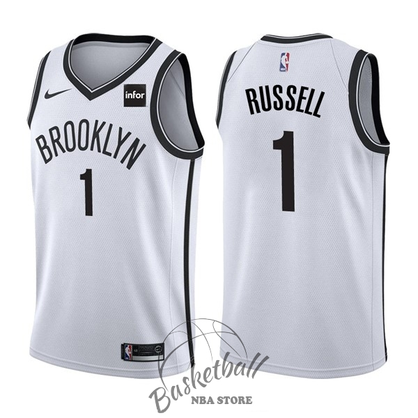 Choisir Maillot NBA Nike Brooklyn Nets NO.1 D'Angelo Russell Blanc