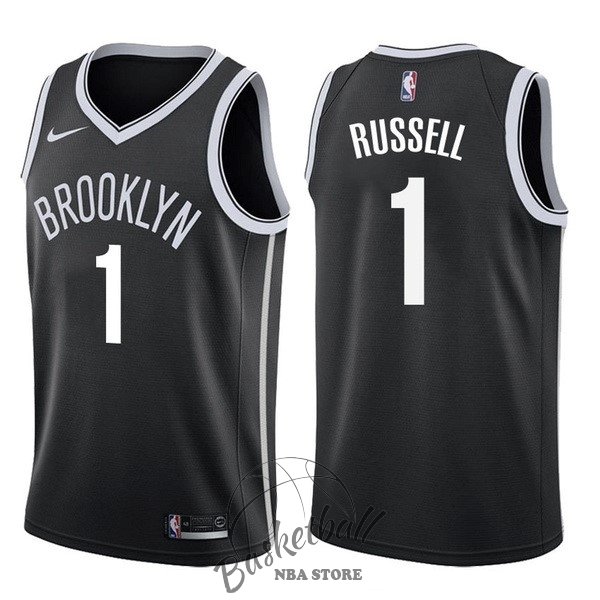 Choisir Maillot NBA Nike Brooklyn Nets NO.1 D'Angelo Russell Noir Icon