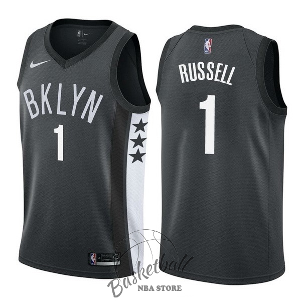 Choisir Maillot NBA Nike Brooklyn Nets NO.1 D'Angelo Russell Noir Statement