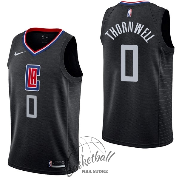 Choisir Maillot NBA Nike Los Angeles Clippers NO.0 Sindarius Thornwell Noir Statement