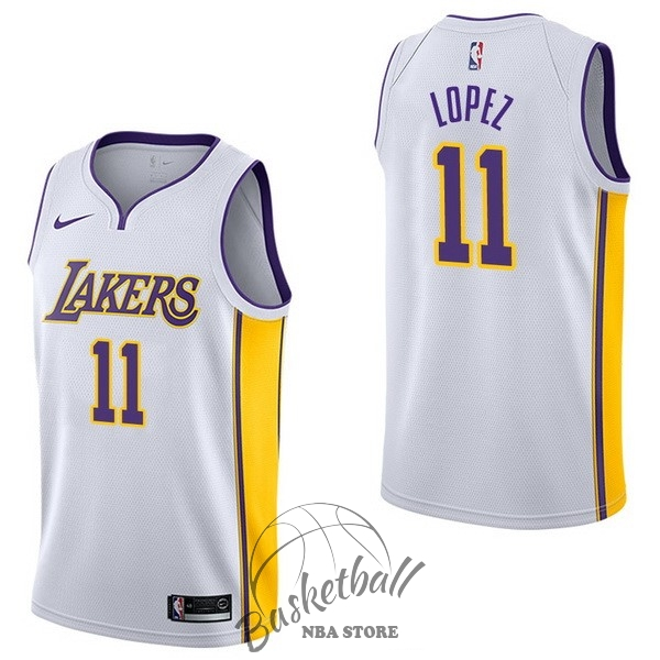 Choisir Maillot NBA Nike Los Angeles Lakers NO.11 Brook Lopez Blanc Association