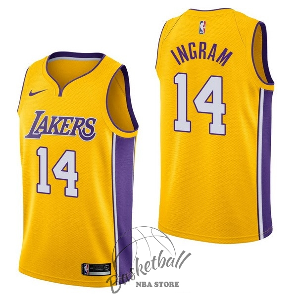Choisir Maillot NBA Nike Los Angeles Lakers NO.14 Brandon Ingram Jaune Icon