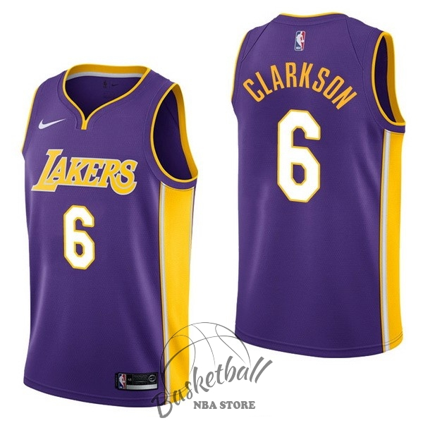 Choisir Maillot NBA Nike Los Angeles Lakers NO.6 Jordan Clarkson Pourpre Statement