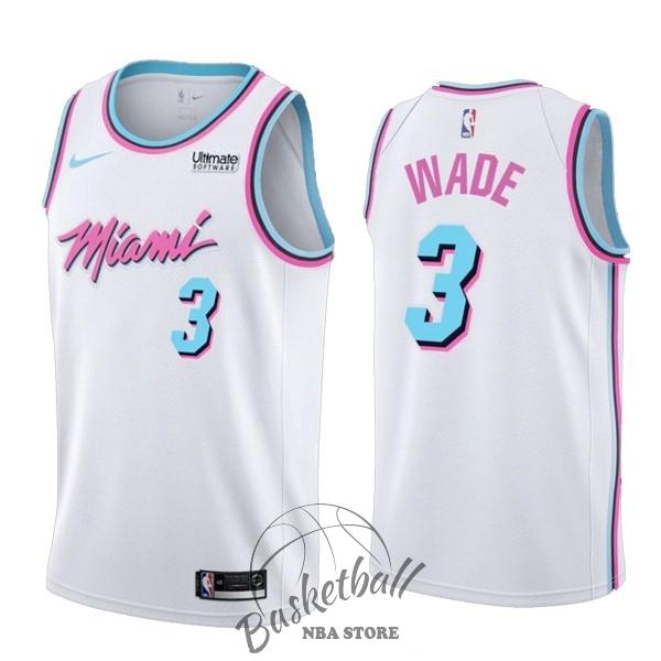online store e64d6 20dc6 Choisir Maillot NBA Nike Miami Heat NO.3 Dwyane Wade Blanc Ville