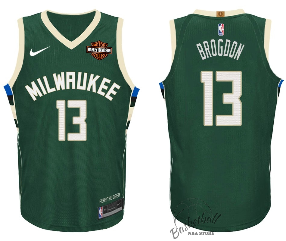 Choisir Maillot NBA Nike Milwaukee Bucks NO.13 Malcolm Brogdon Vert