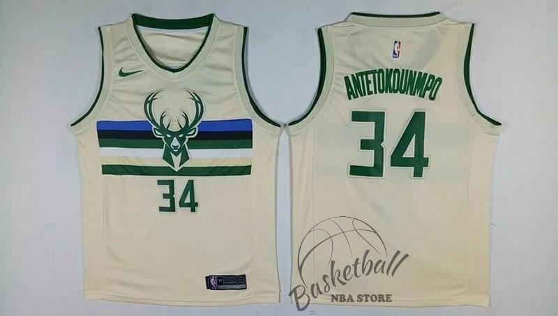 4044529ffa0f6 Choisir Maillot NBA Nike Milwaukee Bucks NO.34 Giannis Antetokounmpo Nike  Crème Ville ...