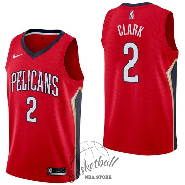 Choisir Maillot NBA Nike New Orleans Pelicans NO.2 Ian Clark Rouge Statement
