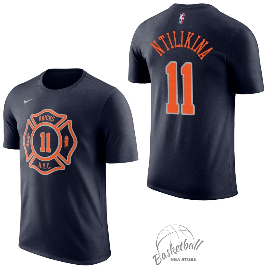 Choisir Maillot NBA Nike New York Knicks Manche Courte NO.11 Frank Ntilikina Marine