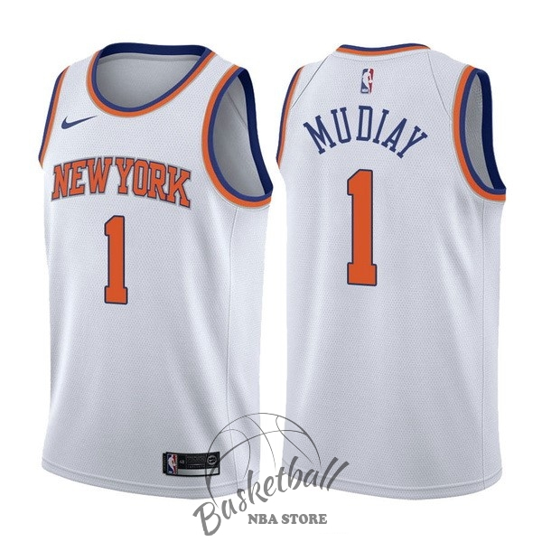 Choisir Maillot NBA Nike New York Knicks NO.1 Emmanuel Mudiay Blanc Association