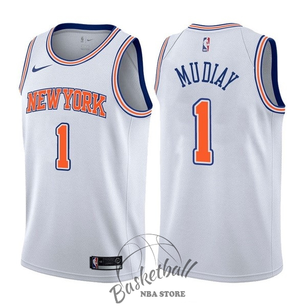 Choisir Maillot NBA Nike New York Knicks NO.1 Emmanuel Mudiay Blanc Statement