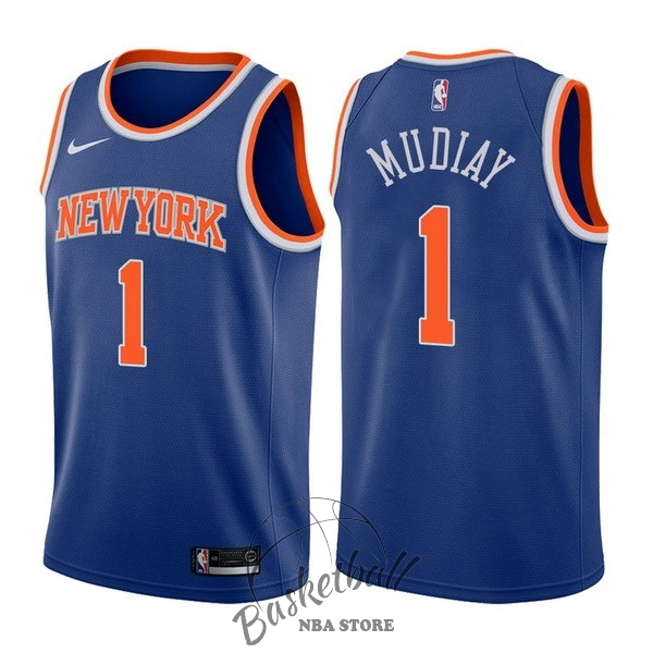 Choisir Maillot NBA Nike New York Knicks NO.1 Emmanuel Mudiay Bleu Icon