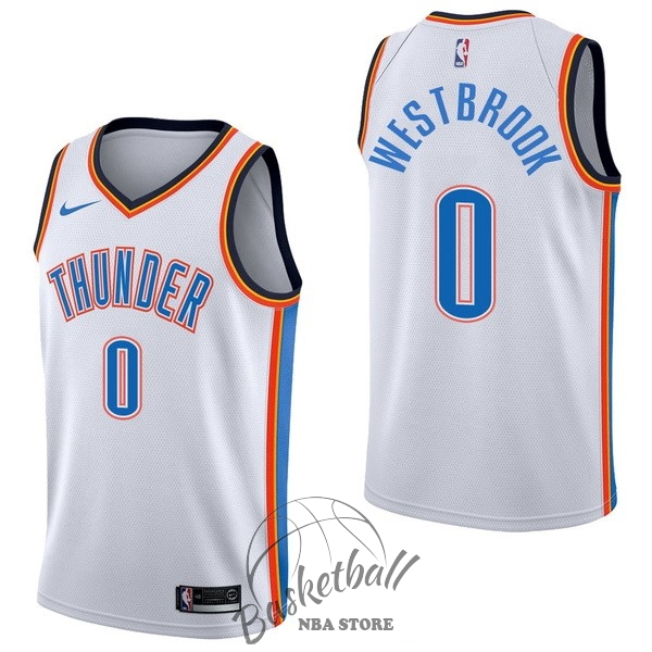 Choisir Maillot NBA Nike Oklahoma City Thunder NO.0 Russell Westbrook Blanc Association