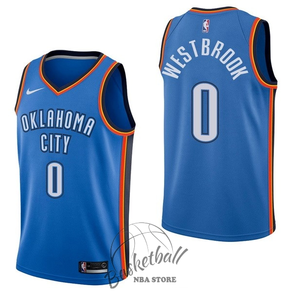 Choisir Maillot NBA Nike Oklahoma City Thunder NO.0 Russell Westbrook Bleu Icon