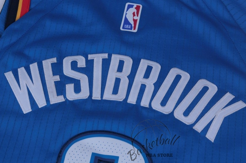 af60316492c42 ... Choisir Maillot NBA Nike Oklahoma City Thunder NO.0 Russell Westbrook  Bleu Icon ...