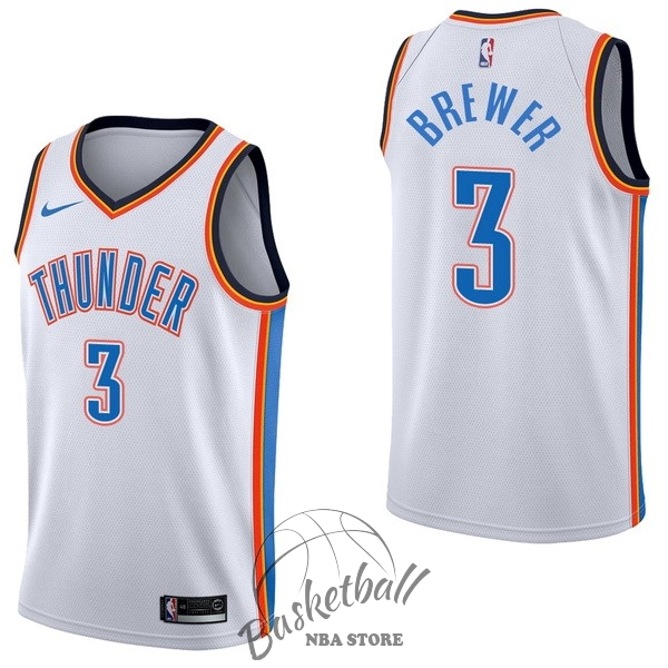 Choisir Maillot NBA Nike Oklahoma City Thunder NO.3 Corey Brewer Blanc Association