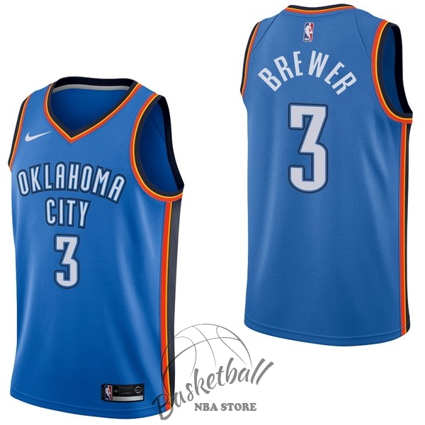 Choisir Maillot NBA Nike Oklahoma City Thunder NO.3 Corey Brewer Bleu Icon