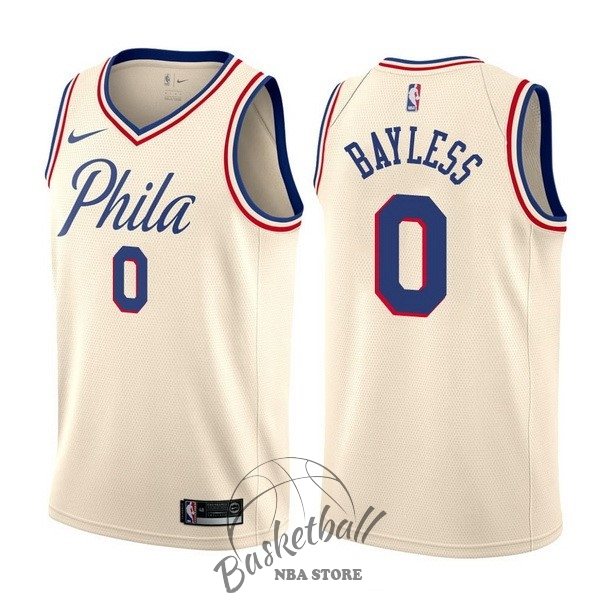 Choisir Maillot NBA Nike Philadelphia Sixers NO.0 Jerryd Bayless Nike Crème Ville