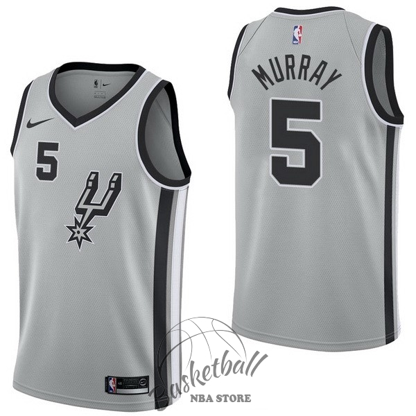 Choisir Maillot NBA Nike San Antonio Spurs NO.5 Dejounte Murray Gris Statement