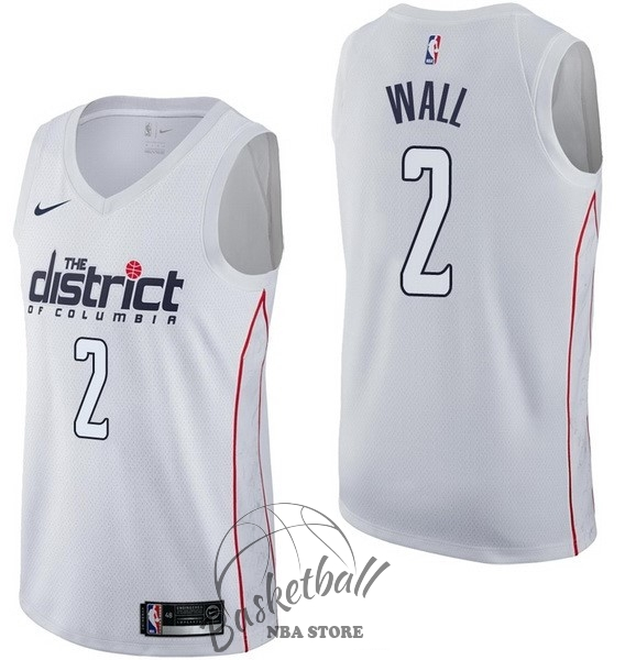 Choisir Maillot NBA Nike Washington Wizards NO.2 John Wall Nike Blanc Ville